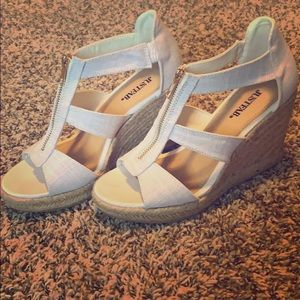 Just Fab White Wedges